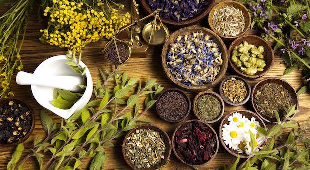 Natural medicine, herbs, mortar